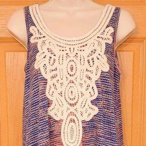 Maurices Ivory Embellished Blue Salmon Tank Top